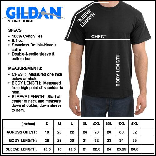Gildan t shirt size chart